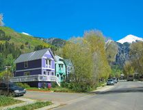 Telluride. Beautiful view of houses, mountains and sky in Telluride, Colorado Royalty Free Stock Photos