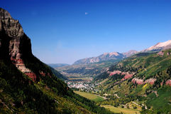 Telluride, The Big Picture. Landscape view of telluride box canyon and valley with moon setting Royalty Free Stock Image
