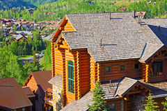 Telluride city panorama and mountain hillsides with coniferous forest. Royalty Free Stock Photography