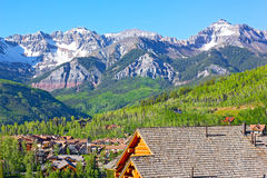 Telluride city panorama with snow mountain peaks and forestry hillsides. Royalty Free Stock Image