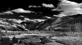 Telluride, Colorado, Dramatic Monochrome. The valley floor just outside Telluride, Colorado is rendered in stunning monochrome. Deep shadows, rich detail Stock Images