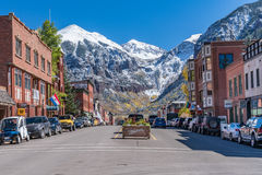 Telluride Colorado. Looking up Colorado Avenue in Telluride, Colorado nestled in the San Juan mountains.  Telluride is a popular winter recreation destination Royalty Free Stock Photo