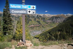 Telluride Colorado Signpost and View of City. Signpost with overview of Telluride, Colorado with mountains Stock Photos