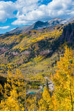 Telluride Fall Colors Colorado Landscape. Looking down the Black Bear Pass Towards the Telluride Fall Colors Colorado Landscape Royalty Free Stock Photo