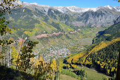 Telluride in the fall with yellow aspen and snow covered mountains Royalty Free Stock Photos