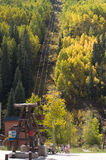 Telluride Lift in Autumn. Ski lift and historic tram structure in Telluride, Colorado in autumn Royalty Free Stock Photo