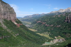 Telluride Looking West. Looking west from the end of the box canyon, Telluride, Colorado Stock Photo
