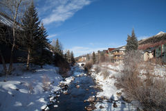 Telluride River in Winter. Telluride river and footbridge in winter royalty free stock images