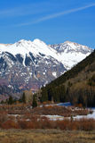 Telluride Snowcap. A seasonal image of the San Juan Mountains entering Telluride Stock Photography