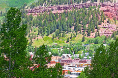 Telluride town center surrounded by mountain hillsides, Colorado. Stock Image