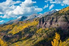 Telluridenedgången färgar det Colorado landskapet Royaltyfria Bilder