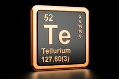 Tellurium Te chemical element. 3D rendering. Tellurium Te, chemical element. 3D rendering isolated on black background Stock Image