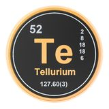 Tellurium Te chemical element. 3D rendering. Isolated on white background royalty free illustration