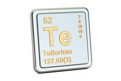 Tellurium Te, chemical element sign. 3D rendering Stock Image