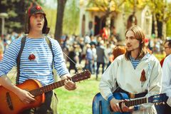 Musicians sing in the street. Telnyazhkah two musicians sing in the street Royalty Free Stock Photography