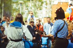 Musicians sing in the street. Telnyazhkah two musicians sing in the street Royalty Free Stock Image