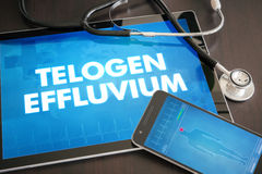 Telogen effluvium (cutaneous disease) diagnosis medical concept. On tablet screen with stethoscope Stock Image