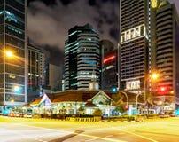 Telok Ayer Market at night in Singapore center Stock Images