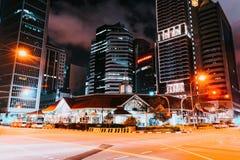 Telok Ayer Market Singapore Stock Exchange building at night. Singapore, Singapore - February 29, 2016: Telok Ayer Market and Singapore Stock Exchange building stock photography