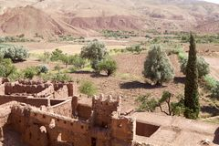 Telouet ancient kasbah ruins and landscape Stock Photo