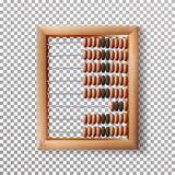 Telraam Vastgestelde Vector Klassiek Houten Oud Telraam Rekenkundig Hulpmiddelmateriaal Geïsoleerd op transparante achtergrond Royalty-vrije Stock Afbeeldingen