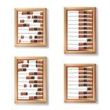Telraam Vastgestelde Vector Realistische Illustratie van Klassiek Houten Oud Telraam Rekenkundig Hulpmiddelmateriaal Stock Afbeeldingen