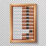 Telraam Vastgestelde Vector Realistische Illustratie van Klassiek Houten Oud Telraam Rekenkundig Hulpmiddelmateriaal Geïsoleerde Royalty-vrije Stock Foto's