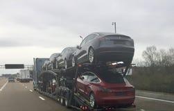 Telsa modela 3 automóviles dirigidos a la porción del coche foto de archivo