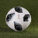 Telstar上面滑翔机世界杯橄榄球2018年 库存照片