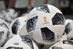 Telstar, offizielle Fußball-Weltmeisterschaft Russland 2018 Bälle Stockfotografie