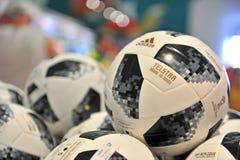 Telstar, offizielle Fußball-Weltmeisterschaft Russland 2018 Bälle Lizenzfreies Stockbild