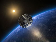 Telstar 1 Satellite. Telstar 1, the World`s first transatlantic broadcast satellite in Earth orbit, 1962 Stock Photo