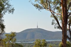 Telstra Tower Black Mountain Australia capital city of Canberra. Telstra Tower a telecommunications tower and lookout that is situated above the summit of Black stock images