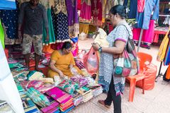 TELUK INTAN, MALAYSIA, May 1, 2018: Ethnic Malaysian Indian mark. Et stall selling Indian cultural theme merchandize to local and tourists at market stalls Stock Images
