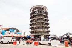 TELUK INTAN, MALAYSIA, May 1, 2018: Menara Condong or Leaning To. Wer of Teluk Intan is a popular tourist attraction. It is a clock tower with 8 floors and Royalty Free Stock Photography