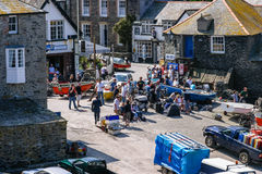 Television crew filming TV show Doc Martin in Port Isaac, UK Royalty Free Stock Images