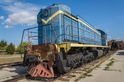 TEM2 diesel-electric locomotive manufactured by the Kharkov Transport Machinery plant, is displayed at the AvtoVAZ Technical Museu Stock Images