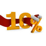 Tem percent discount. 10 percent dsicount cocnet with a red ribbon Royalty Free Stock Image