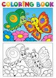 Tema 1 de la mariposa del libro de colorear Imagen de archivo libre de regalías