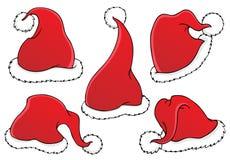 Tema 1 de los sombreros de la Navidad stock de ilustración