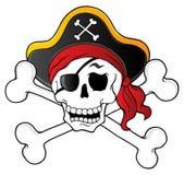 Tema 1 del cráneo del pirata ilustración del vector
