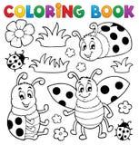 Tema 1 della coccinella del libro da colorare Fotografia Stock