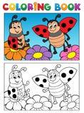Tema 2 della coccinella del libro da colorare Fotografie Stock Libere da Diritti