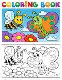 Tema 2 della farfalla del libro da colorare Immagini Stock