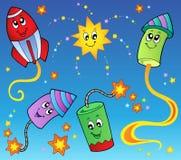 Tema 2 dos fogos-de-artifício dos desenhos animados Imagens de Stock