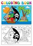 Tema 3 do papagaio do pirata do livro para colorir ilustração do vetor