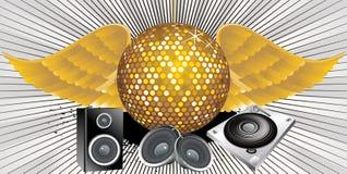 Tema abstrato da música com esfera do disco Foto de Stock