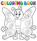 Tema allegro 1 della farfalla del libro da colorare Fotografie Stock Libere da Diritti