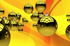 Tema amarelo do Natal Foto de Stock