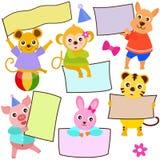 Tema animal de los iconos lindos/etiqueta del vector Fotografía de archivo libre de regalías